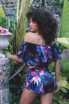 HAMEC Bermuda Off the Shoulder Ruffle Crop Top in Floral Tropical Print in Blue, Purple and Pink Colors