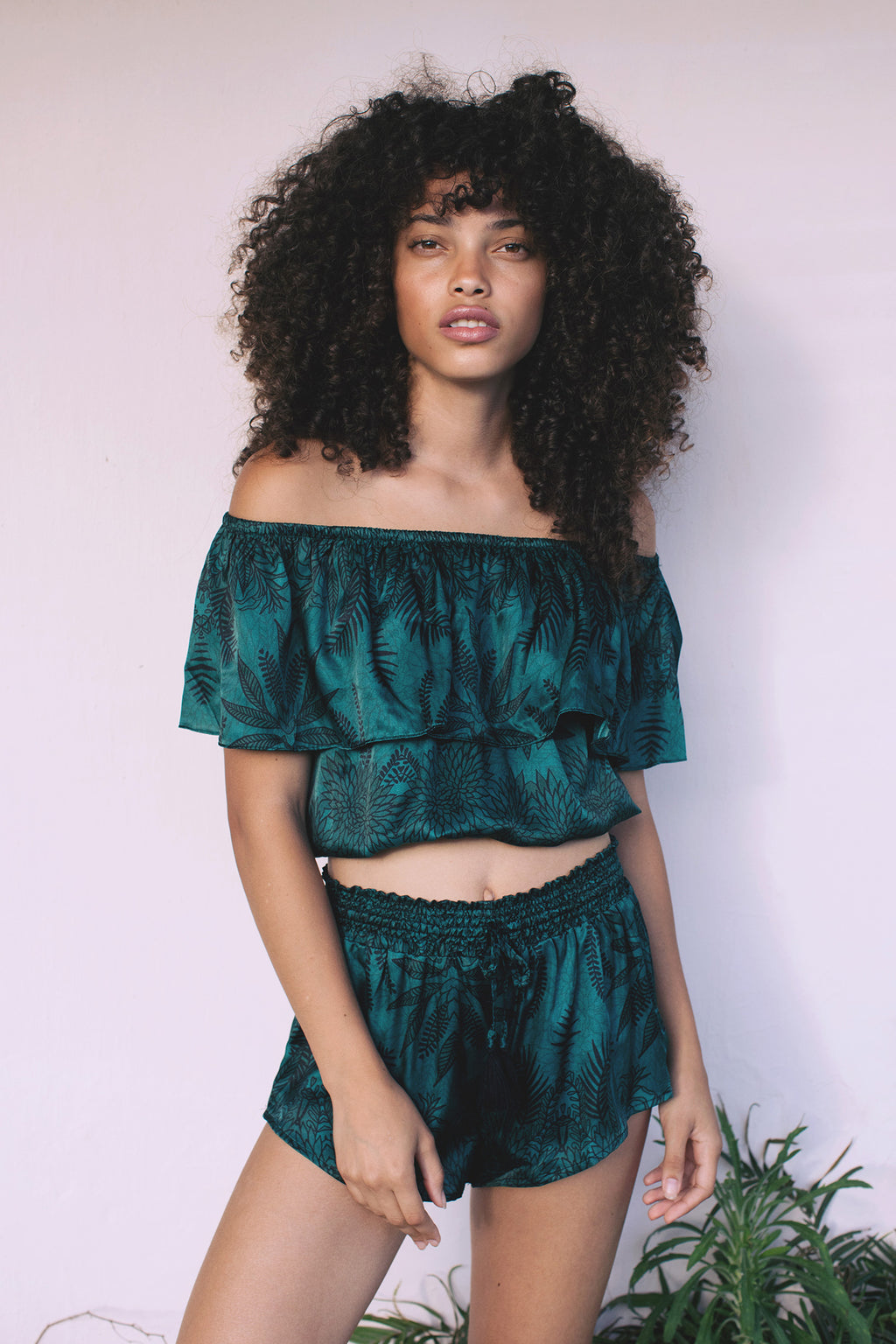 Crop top in Soul Tree print. A deep emerald background  with  black fern silhouette pattern.