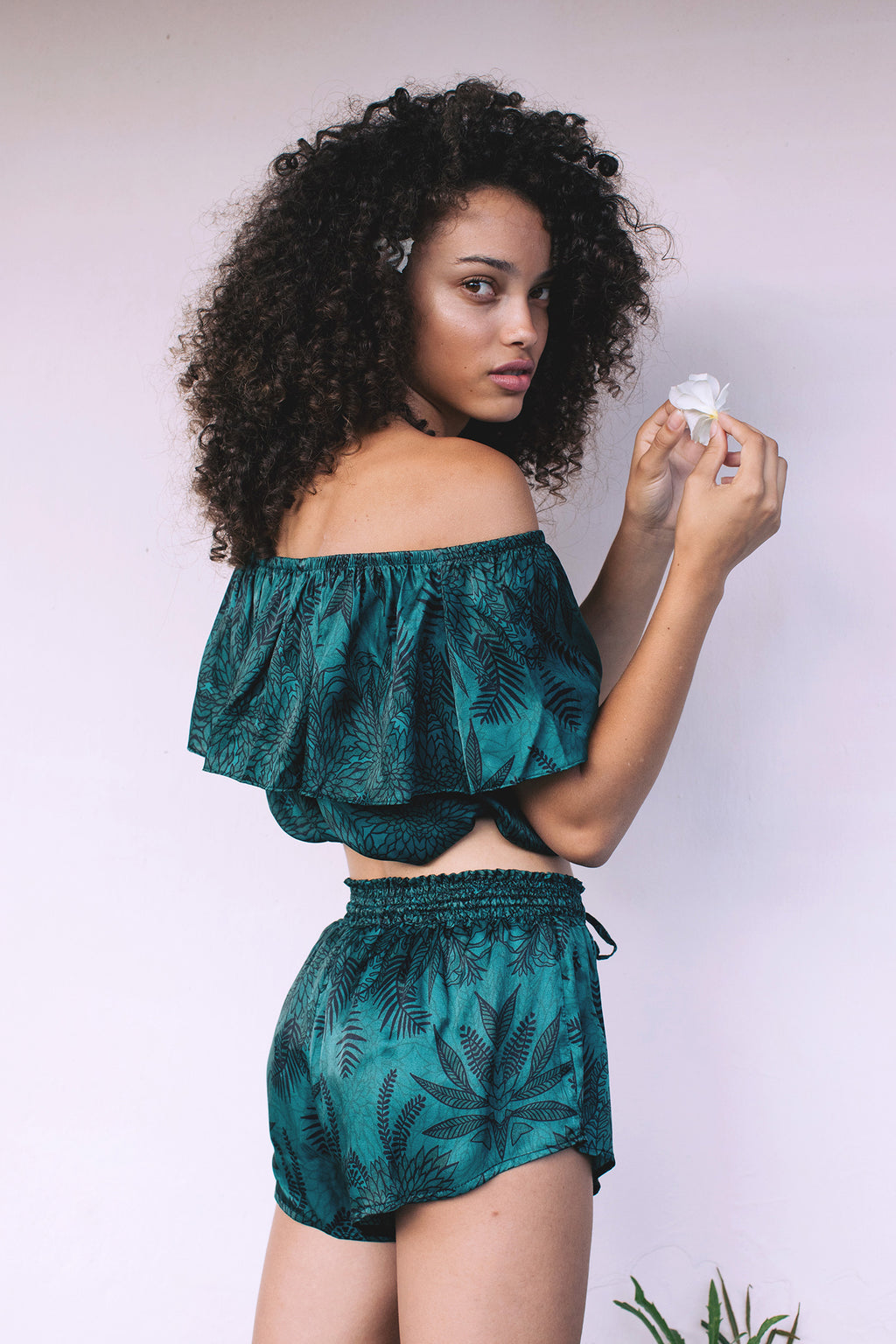 Crop Top in Soul Tree. A deep emerald background with  black fern silhouette pattern.