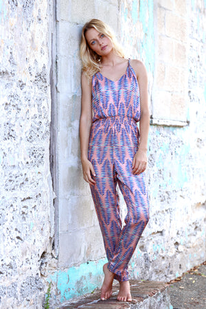 Jumpsuit with tie knot back in Coral Kiss Print. A soft beach tones pallet coral & blue fern pattern.