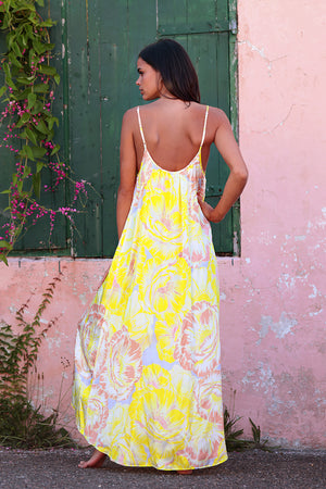 Adjustable Low Back Maxi Long Dress in Lemom Love You print: bright yellow background with soft blush and white flower pattern.