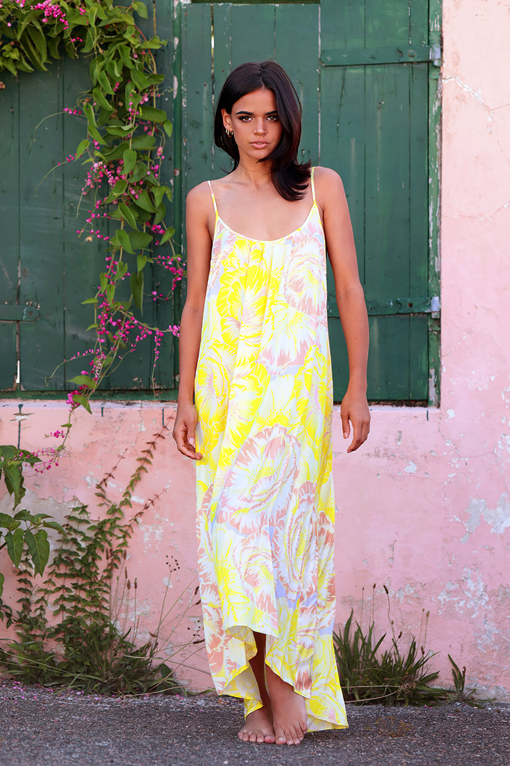 Maxi Long Dress in Lemom Love You print: bright yellow background with soft blush and white flower pattern.