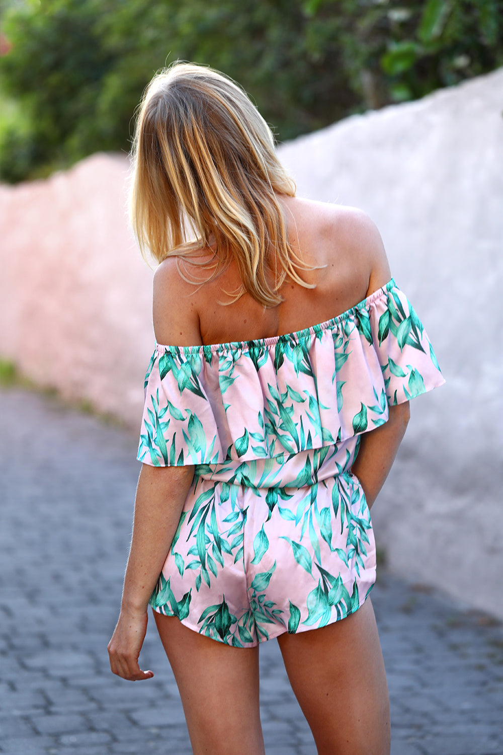 HAMEC Bermuda Off the Shoulder  Ruffle Crop Top in Tropical Print in Blush Background with Mint Green Leaves