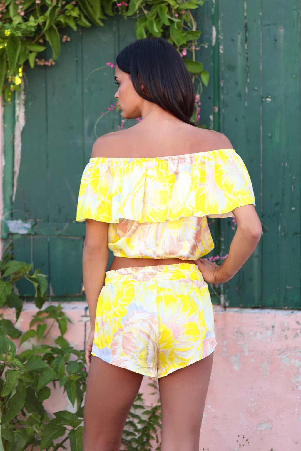 Crop Top in Lemom Love You print: bright yellow background with soft blush and white flower pattern.