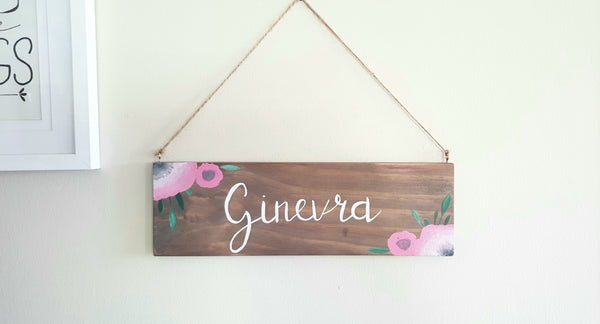 Personalised Girl bedroom door plaque name with pink poppies