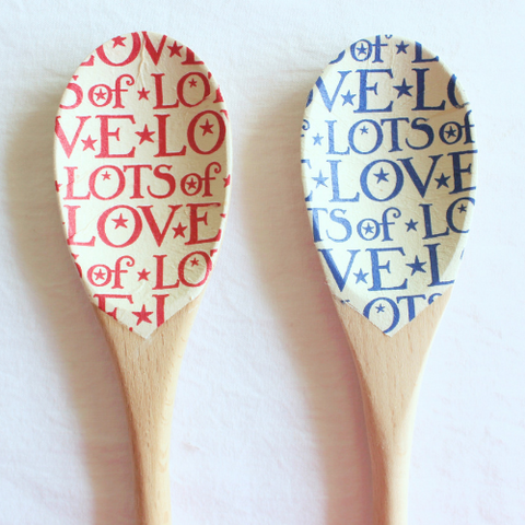 Christmas Kitchen decor Blue Red Christmas wooden spoons