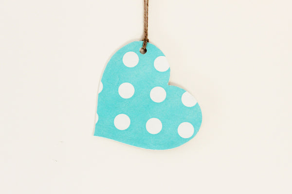 Wooden Polka Dot Hanging Heart - Mint green - Country & Shabby details