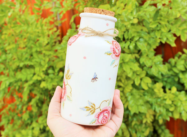 Decorative Glass Bottle - 'ROSES & BEE' - Country & Shabby details