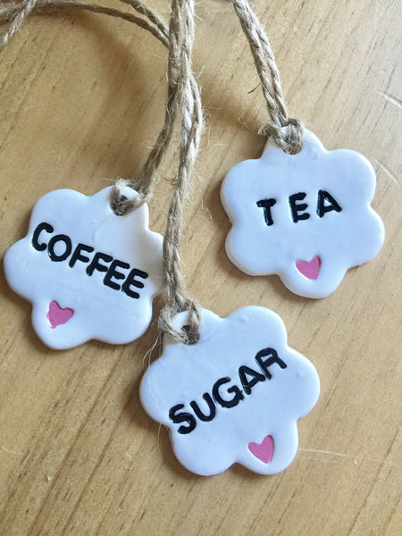 white clay tags coffee tea sugar little hearts pink country and shabby details pantry ideas