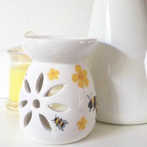 candle warmer - with bees and yellow flowers - Country & Shabby details