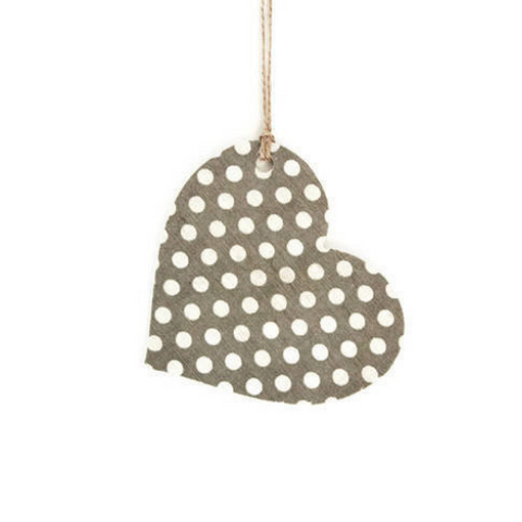 Wooden Polka Dot Hanging Heart - Grey - Country & Shabby details