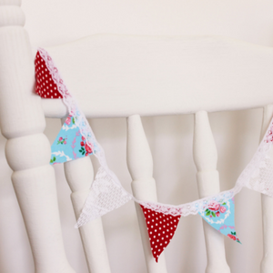 Miniature fabric bunting - Red Blue Lace by Country and Shabby details