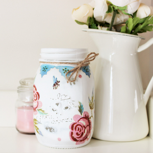 Decorative Mason Jar - 'ROSES and BEE' - Country & Shabby details