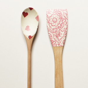 Wooden spoons 'PINK WALLPAPER & HEARTS' - Set of 2 - Country & Shabby details