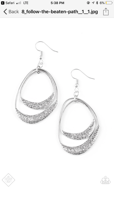 Follow The Beaten Path Silver Earring