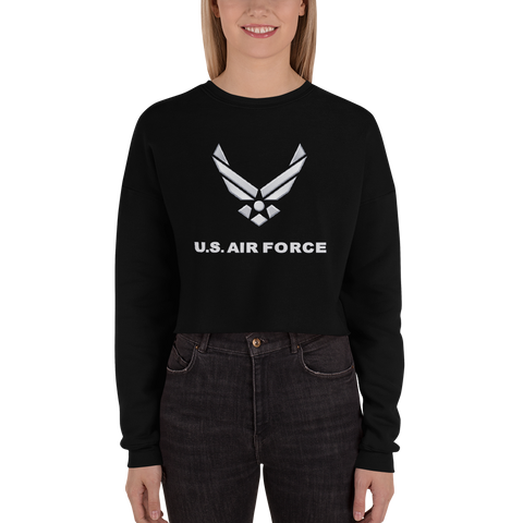 U.S. Air Force Women's Fleece Crop Sweatshirt - Reaper Patches
