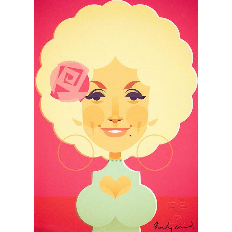 Dolly Parton (pink) by Stanley Chow - Signed and stamped fine art print - Egoiste Gallery