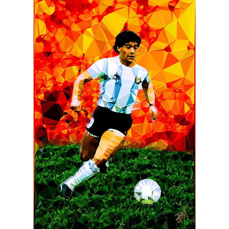 Maradona by Baiba Auria - signed art print - Egoiste Gallery - Art Gallery in Manchester City Centre