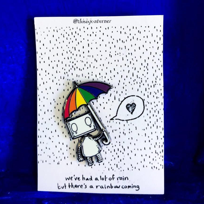 Rainbow Umbrella Robot by Jon Turner - Hard Enamel Pin Badge- LGBT Pride - Egoiste Gallery - Art Gallery in Manchester City Centre