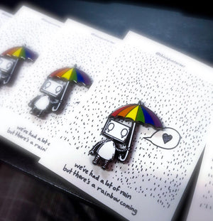 Rainbow Umbrella Robot by Jon Turner - Hard Enamel Pin Badge- LGBT Pride - Egoiste Gallery
