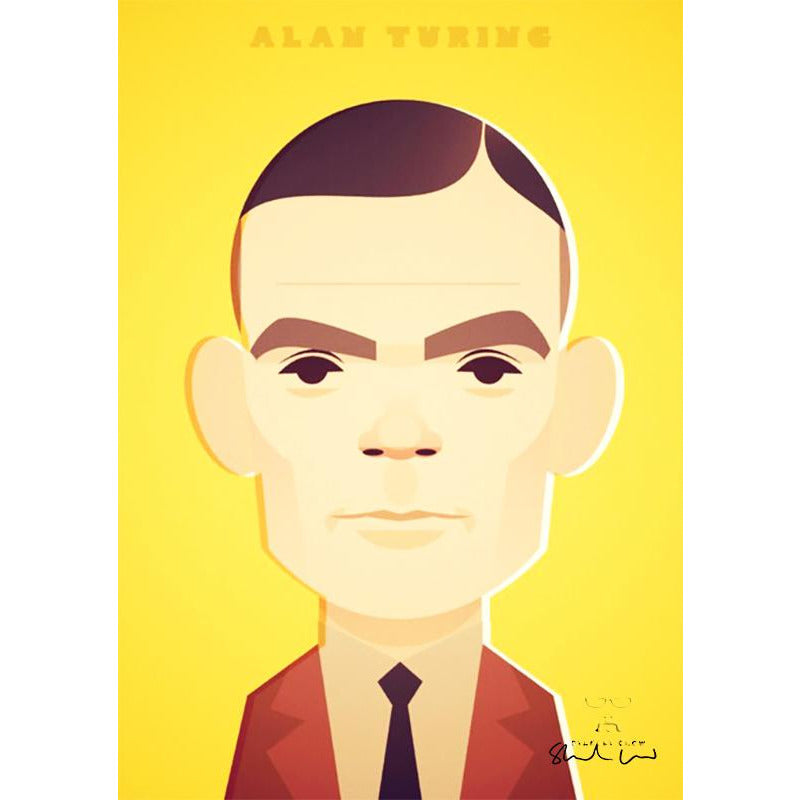 Alan Turing by Stanley Chow - Signed and stamped fine art print - Egoiste Gallery - Art Gallery in Manchester City Centre