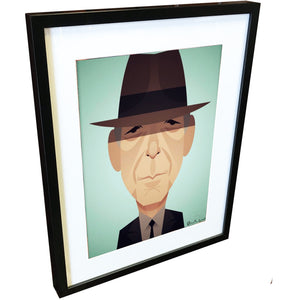 Leonard Cohen by Stanley Chow - Signed and stamped fine art print - Egoiste Gallery - Art Gallery in Manchester City Centre