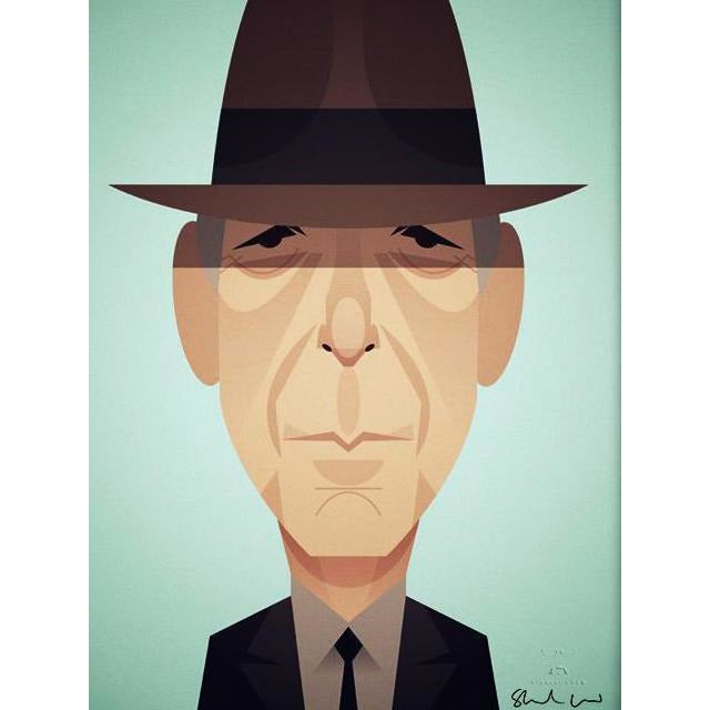 Leonard Cohen by Stanley Chow - Signed and stamped fine art print - Egoiste Gallery