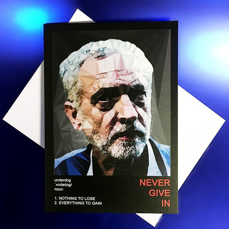 Jeremy Corbyn greeting card by Baiba Auria - Egoiste Gallery