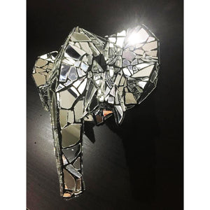 Elephant by Dark Mark - mirror mosaic trophy head sculpture - for Pre Order only - Egoiste Gallery - Art Gallery in Manchester City Centre