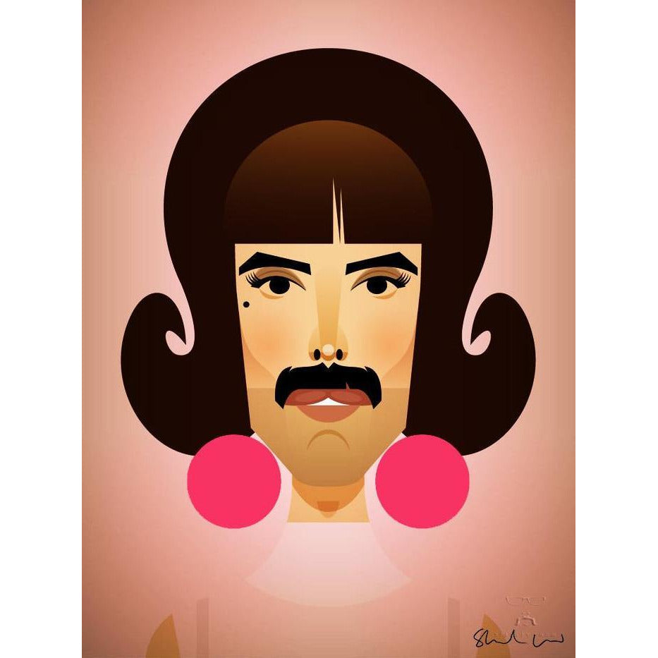 Freddie Mercury by Stanley Chow - Signed and stamped fine art print