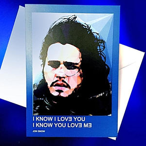 Jon Snow greeting card by Baiba Auria - Egoiste Gallery