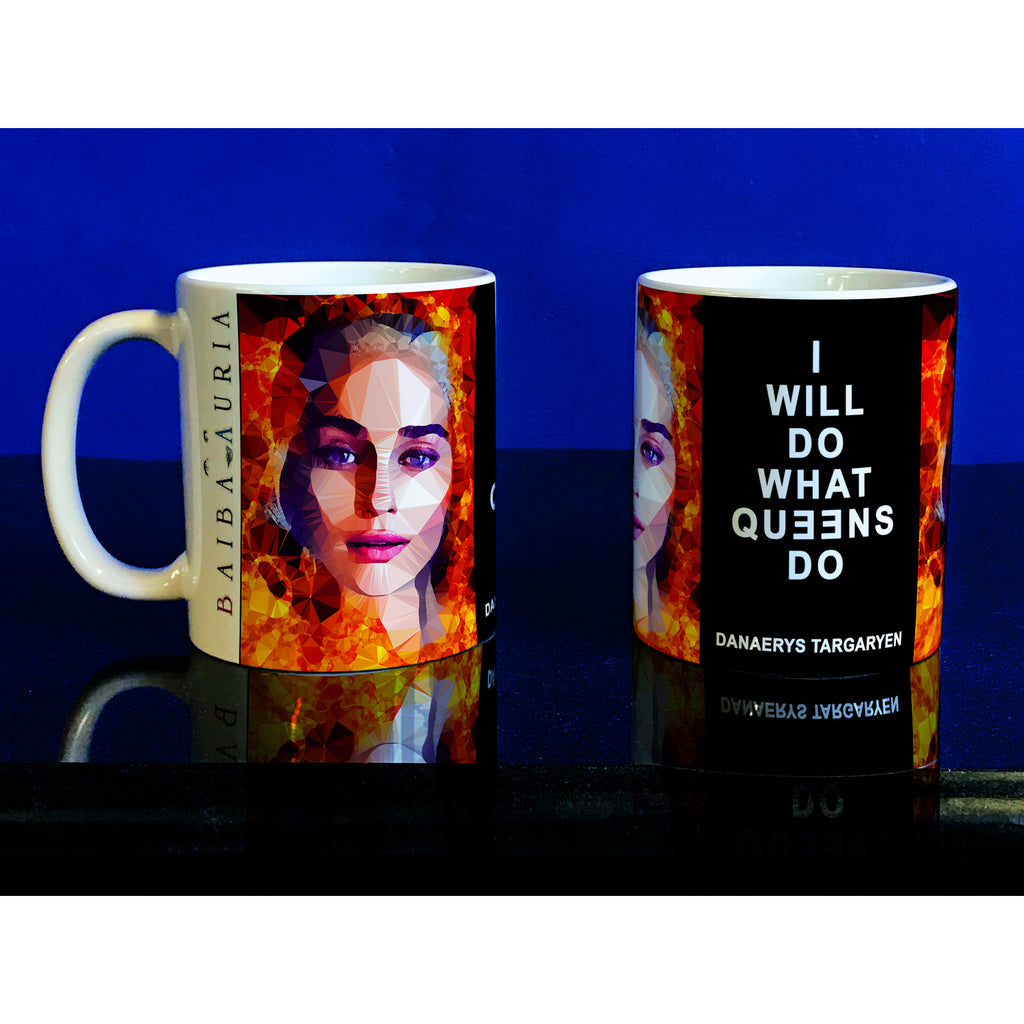 Daenerys Targaryen - Ashes to Ashes Mug by Baiba Auria - Egoiste Gallery - Art Gallery in Manchester City Centre