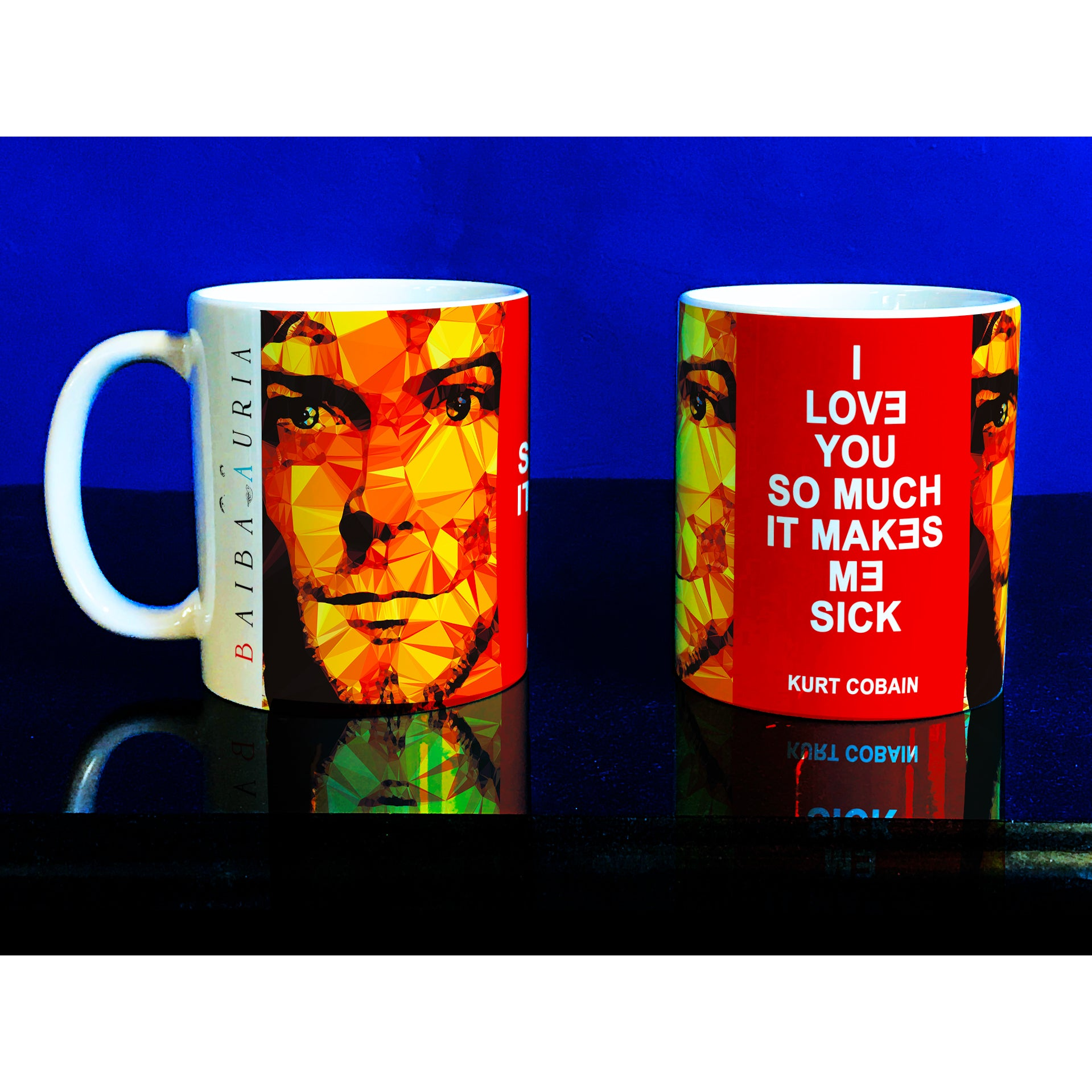 Kurt Cobain Mug by Baiba Auria - Egoiste Gallery - Art Gallery in Manchester City Centre