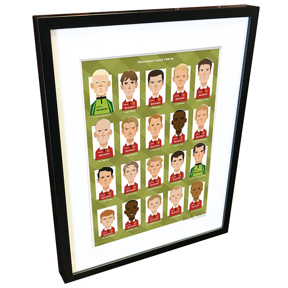 Manchester United Treble Winners by Stanley Chow - Signed and stamped fine art print