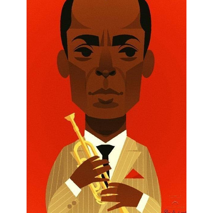Miles Davis by Stanley Chow - A3 signed fine art print - mounted and framed with glass front