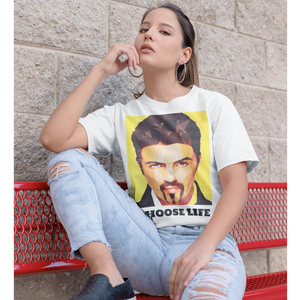 George Michael by Baiba Auria: Short-Sleeve Unisex T-Shirt (Choose Life) - Egoiste Gallery - Art Gallery in Manchester City Centre