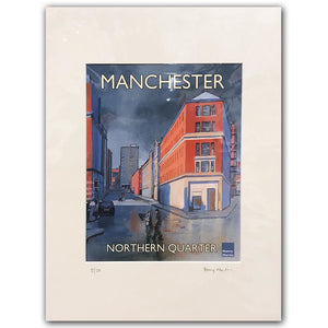 Newton Street by Henry Martin - signed and mounted limited edition A4 print #18/50 - Egoiste Gallery - Art Gallery in Manchester City Centre