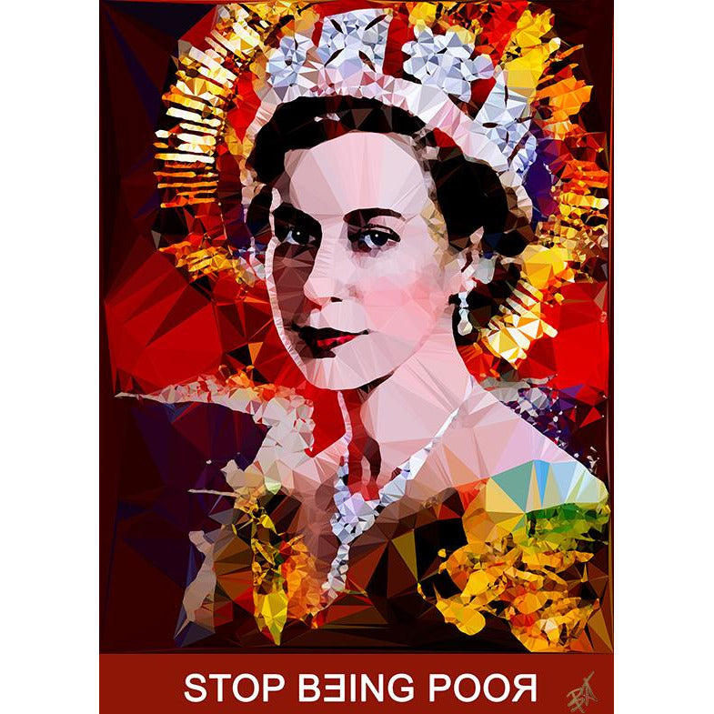Stop Being Poor #2 by Baiba Auria - signed art print with quote - Egoiste Gallery