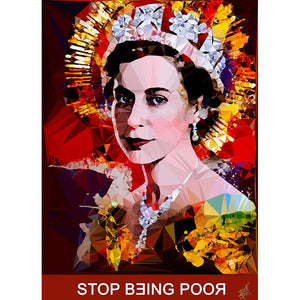 Stop Being Poor #2 by Baiba Auria - signed art print with quote - Egoiste Gallery - Art Gallery in Manchester City Centre