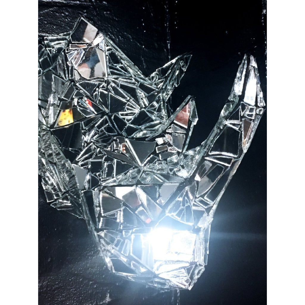 Rhino by Dark Mark - mirror mosaic trophy head sculpture - for Pre Order only - Egoiste Gallery - Art Gallery in Manchester City Centre