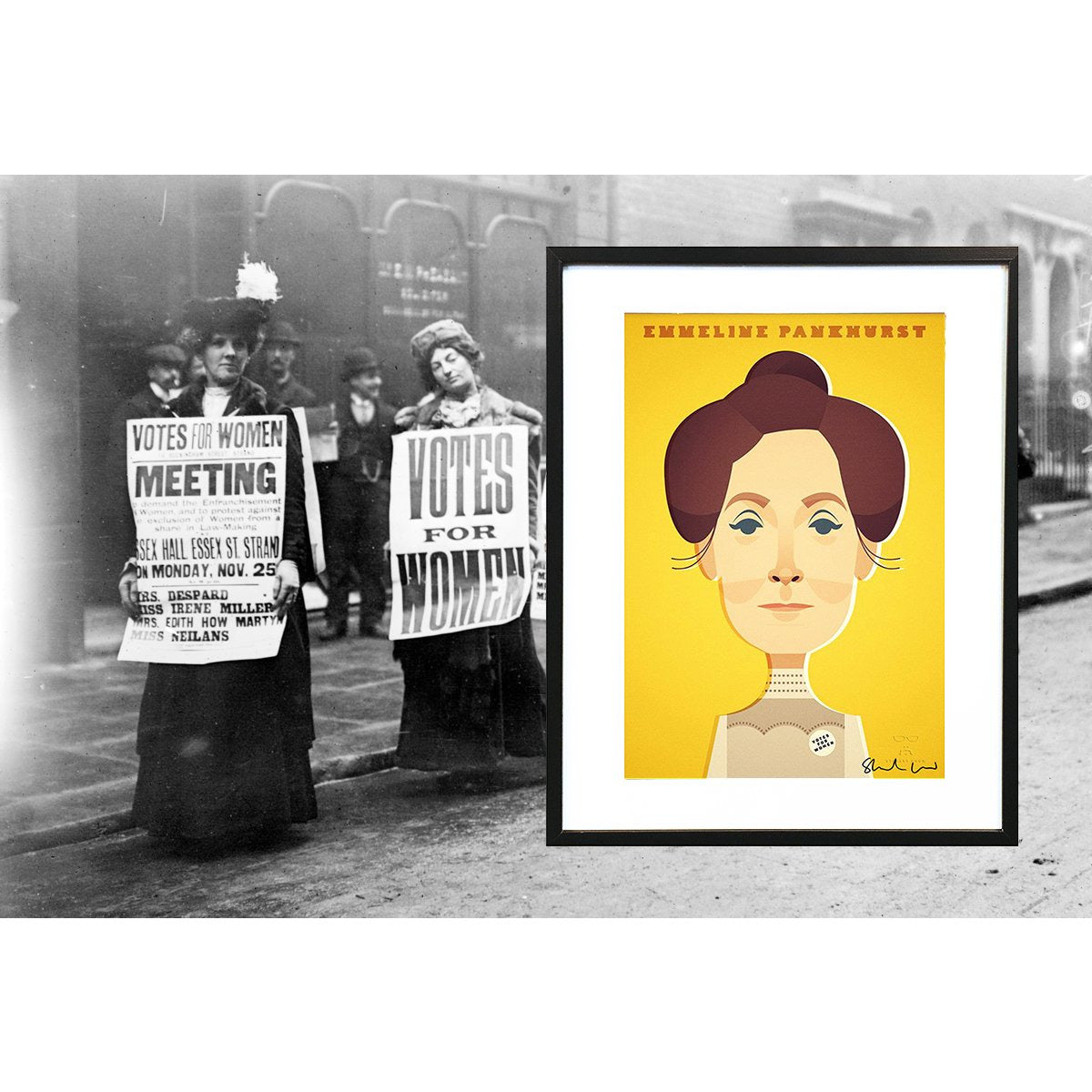 Emmeline Pankhurst by Stanley Chow - Signed and stamped fine art print - Egoiste Gallery - Art Gallery in Manchester City Centre