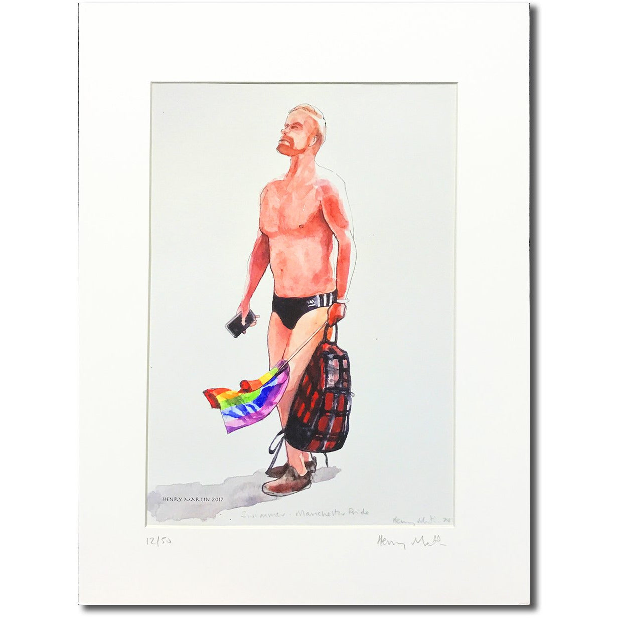 Swimmer by Henry Martin - signed and mounted limited edition A4 print #12/50 - Egoiste Gallery - Art Gallery in Manchester City Centre