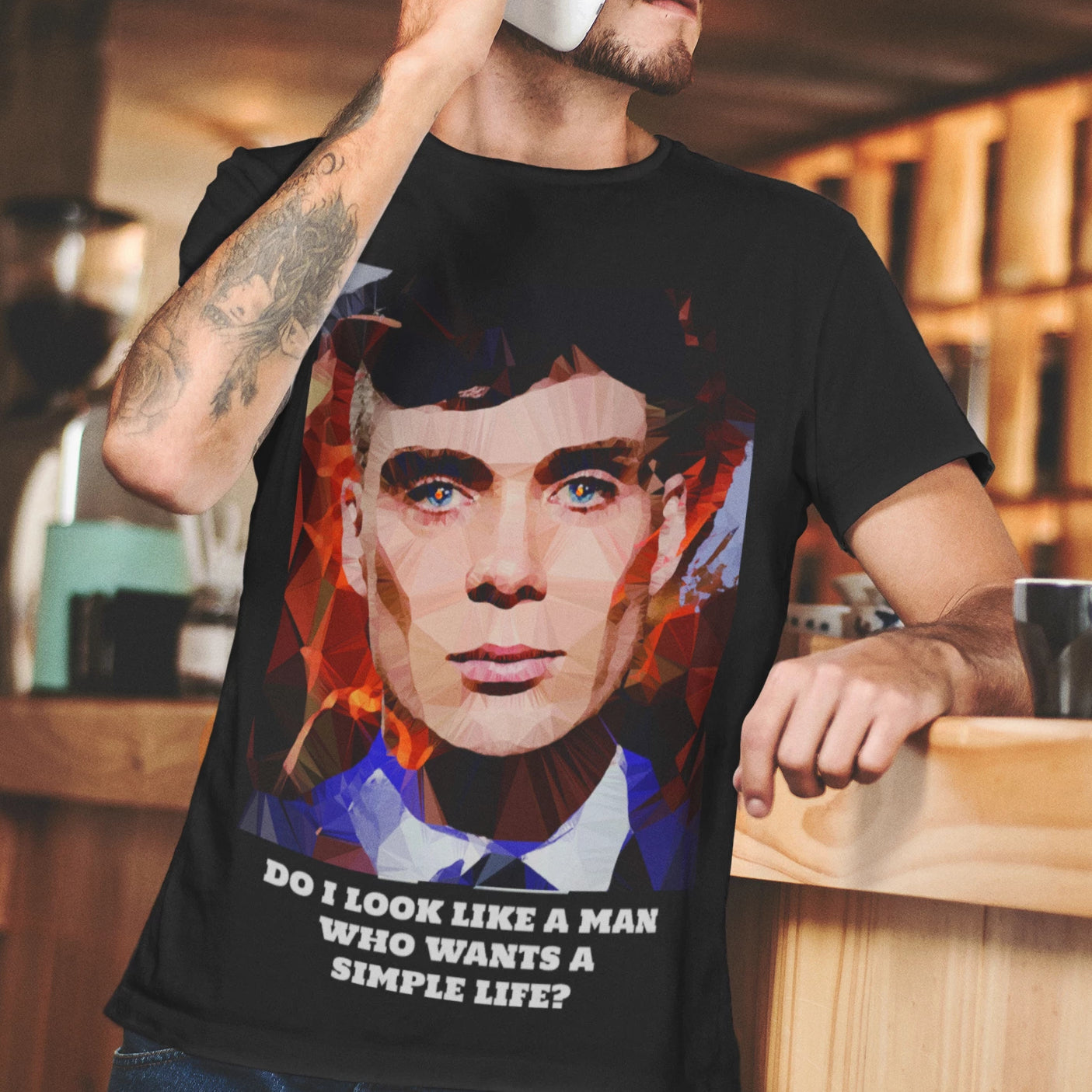 Thomas Shelby (I) by Baiba Auria: Short-Sleeve Unisex T-Shirt - Egoiste Gallery - Art Gallery in Manchester City Centre