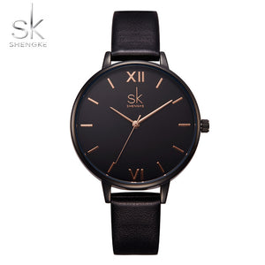 Shengke Top Brand Fashion Ladies Leather Female Quartz  Strap Watch Marble Dial SK