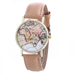 Women Creative Map Pattern Quartz Watch Leather Straplt Table Watch