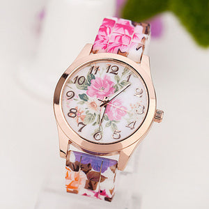 xiniu Fashion Women Girl Causal Dress Watch Silicone Rose Flower Print Jelly Quartz