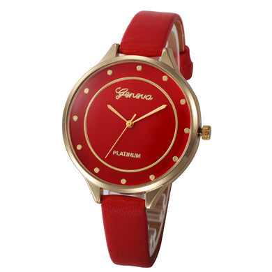 Montres Women Watches Geneva Watch Small Faux Leather Quartz