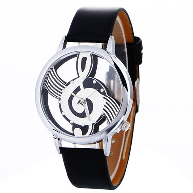 Fashion bracelets Quartz Women Watch Musical Note Painting Leather Bracelet