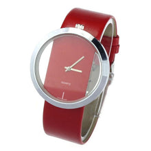 Big Dial Transparent Hollow Ladies Watches Bracelets Simple Faux Leather