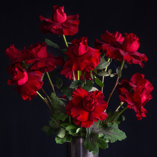 A dozen red roses with geranium